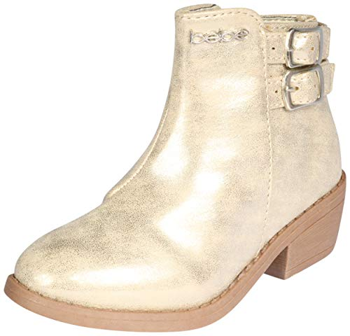 bebe Girls Distressed Metallic Ankle Boot, Light Gold,