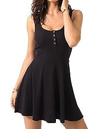 Women's Casual Sleeveless High Waist Slim Fit Flare Skater Mini Tank Dress