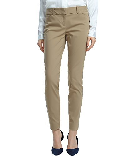 SATINATO Womens Straight Pants Stretch Slim Skinny Solid Trousers Casual Business Office khaki Size 12