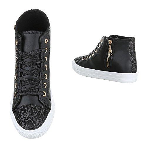 Ital negro Mujer Zapatillas Design altas qgR4Ow7rq