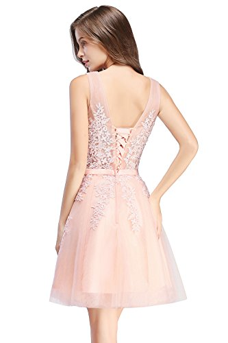 Tulle Dresses Pink Gown Homecoming Short Prom Bridesmaid Neck Babyonline Lace V 51vqSS