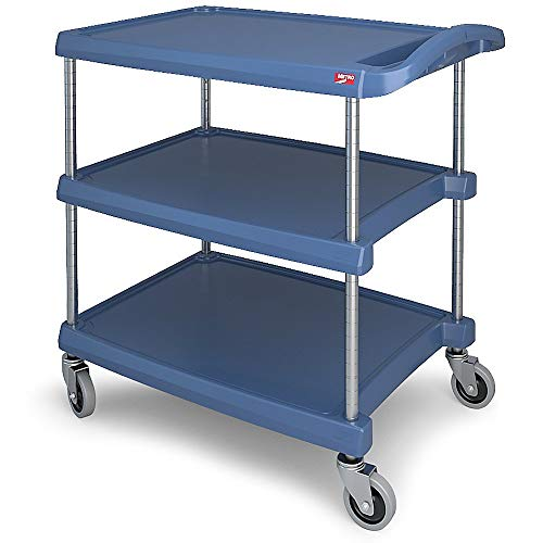 Antimicrobial Product Protection - InterMetro Industries MY2030-34BU Mycart Series Blue Polymer Utility Cart with Built-in Microban Antimicrobial Product Protection, 3 Shelf, 35.38 X 34.38 X 23.5-Inch