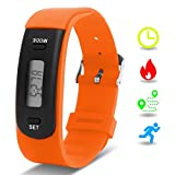 Kids Fitness Tracker with Pedometer, Willful Fitness Activity Tracker Watch Step Counter Wristband Smart Bracelet Bands for Walking Kids ( Pedometers, Calories, Distance, Sleep Monitor ) Non Bluetooth, Non APP (Orange)