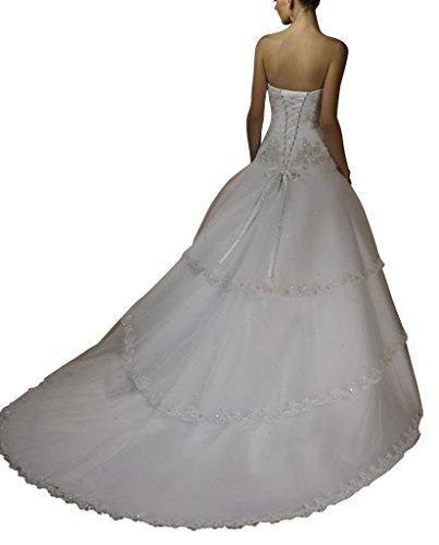Zug Schatz ueber Tiered Ausschnitt GEORGE Elfenbein Hochzeitskleider BRIDE Kapelle Brautkleider Satin Organza Xq8R8xw