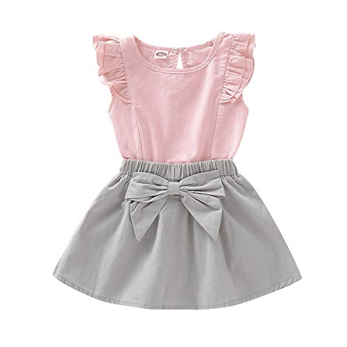Kids Baby Girls Outfits Floral Ruffle Off Shoulder Crop Tops + Bowknot Denim Shorts Skirt Set Toddler Summer Clothes (Pink, 4-5 Years) ()