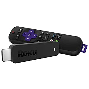 Roku Streaming Stick | Portable, power-packed player with voice remote with TV power and volume (2017) (Certified Refurbished)