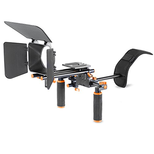 Neewer Camera Movie Video Making Rig System Film-Maker Kit for Canon Nikon Sony and Other DSLR Cameras,DV Camcorders,Includes: Shoulder Mount,Standard 15mm Rail Rod System,Matte Box (Orange and Black) by Neewer