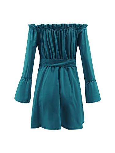 Challyhope Women Deep V Sexy Ruffles Off The Shoulder Flare Sleeve Short Dress Solid Lace-up Bow Party Swing Dresses (XXL, Blue) by Challyhope - Women Mini Dress (Image #6)