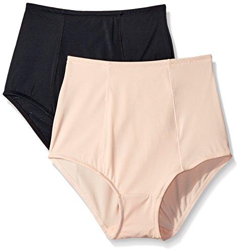 Ellen Tracy Women's Lightweight 2 Pack Brief Shaper Panty, Black/Sun Beige, X-Large