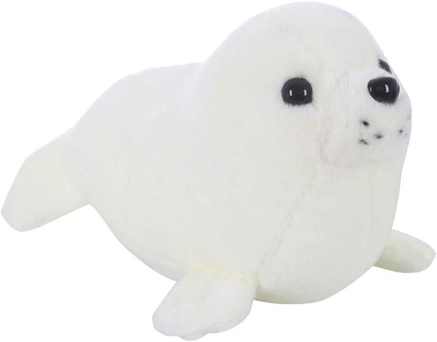 STOBOK Juguete de Peluche en Forma de Foca Peluche de Animal Juguete Adorable Regalo para Niños (Blanco)