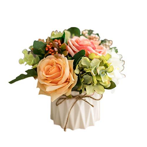 LAAT 1 pcs Decorative Simulation Ceramic Vase Rose Floral Arrangement Artificial Rose Flowers Artificial Plants Plastic Fake Tree Plants Fake Artificial Topiary Plant Potted