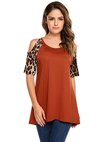 Zeagoo Women's Off Shoulder Tunic Hollow Out Casual Shirt Top Blouse Coffee Large - Off Animal