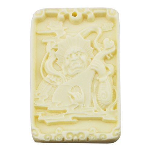 [FOY-MALL Imitation Ivory Chinese Characters Virupakkha Necklace Pendant D1070] (Simple Character Day Costumes)