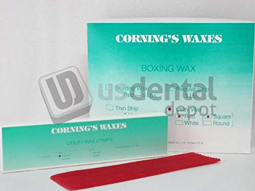 (CORNING - Utility Wax Red Square Rope 44 pk - ( mfg #040 ) Small Box 106847 Us Dental Depot)