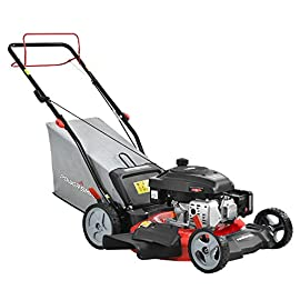 PowerSmart DB2321S Lawn Mower, Black and red 102 Powered by 161 cc engine delivering the right amount of power in a compact, lightweight package Easy pull starting 3-In-1 bag, side discharge and mulching capability allows you to spread grass clippings to the side, returning key nutrients to your lawn so your grass can grow healthy and thick