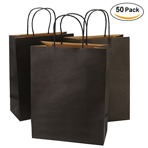 Road 10x5x13 Inches 50pcs Black Kraft Paper Bags with Handle, Gift , Shopping Bag, Merchandise , Party Bag by Road