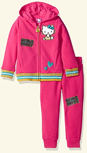 Hoodie Fleece Pants (Hello Kitty Little Girls' 2 Piece Hooded Fleece Active Set, Pink 87693, 4)