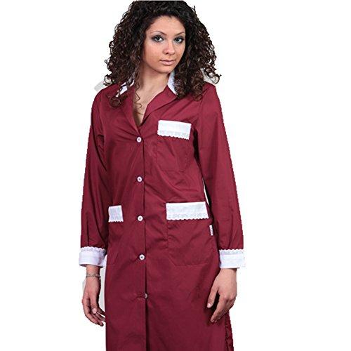 Blouse nettoyage T cameriera Shirt Chambre Femme domestique noir Maison travail 42 bordeaux coton qaXw5arxt