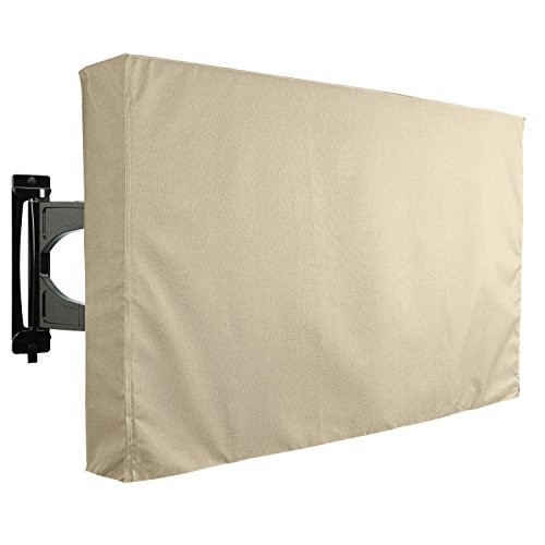 KHOMO GEAR Outdoor TV Cover, SAHARA Series - Beige Weatherproof Universal Protector for 40'' - 42'' LCD, LED, Television Sets - Compatible with Most Mounts & Stands. Built In Remote Controller Storage