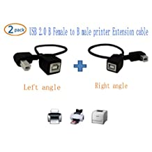 SinLoon USB 2.0 Type-B Printer Cable,(2-PACK) USB 2.0 B Female to Left angle+Right angle B male printer Short Extension cable,for Printer, Scanner , Mobile HDD and More (L-R)