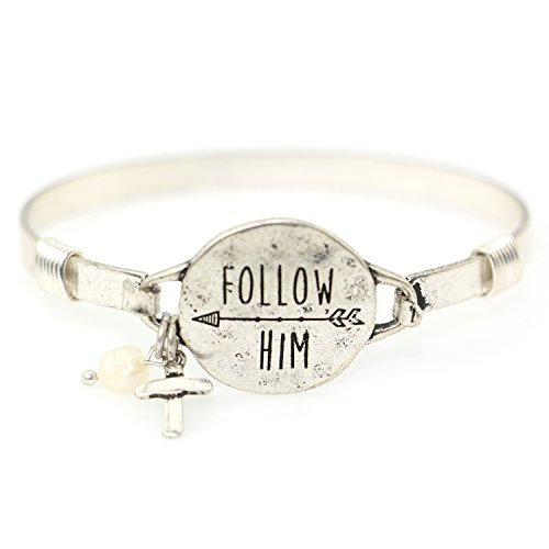 """""""Follow Him"""" Christian Bangle Disc Bracelet with Wire Design and Cross Charm and Bead (Silver Burnish)"""