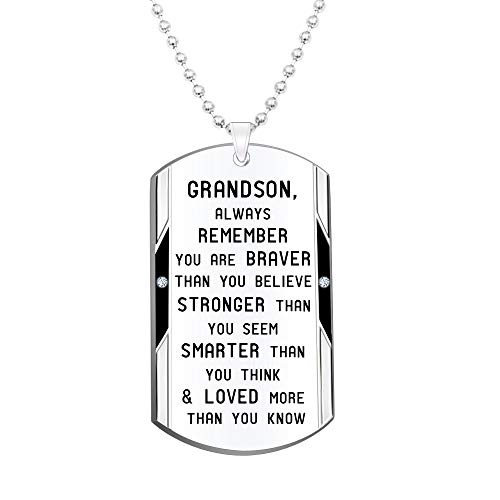 Grandson Inspirational Jewelry Necklace Gift- Always Remember You are Braver Stronger Smarter