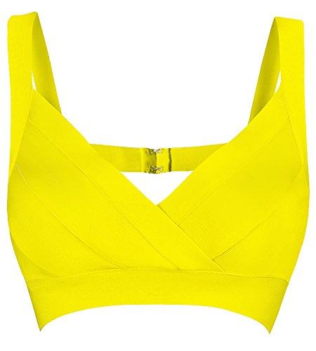 [Beateen Women's V-Neck Strap Bandage Tank Crop Top BT11263 (M, YELLOW)] (Yellow Tank Dress Costumes)