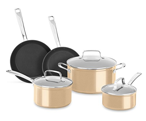 KitchenAid 8-Piece Hard Anodized Nonstick Toffee Delight Cookware Set ()