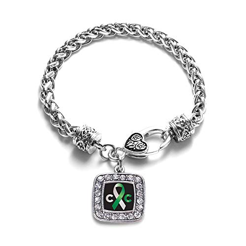Inspired Silver - Cervical Cancer Support Braided Bracelet for Women - Silver Square Charm Bracelet with Cubic Zirconia Jewelry ()