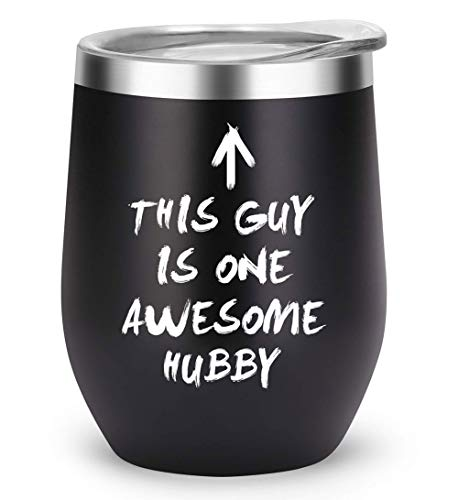 Husband Gifts from Wife Mug for Anniversary Birthday Wedding Day Fathers Day Valentines Day, Unique Gift Present for Him, This Guy Is One Awesome Hubby Insulated Tumbler (awesome-hubby)