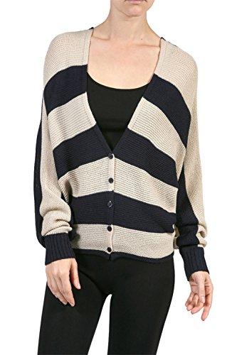 VINA VINO Women's Striped Dolman Sleeve Oversized Sweater Caridgan Navy Small ()