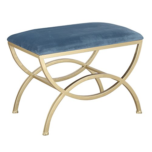 Home's Art Modern Style Fabric Bench Ottoman Chair Footstool With Metal Stands, Dark Blue