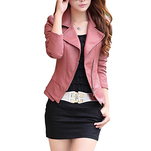 Friendshop Womens Winter Slim Bomber Genuine Leather Jacket(5 Colors)