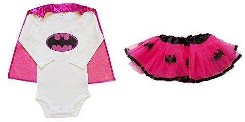 [So Sydney Baby, Infant Girl Superhero Onesie with Detachable Cape & Tutu Skirt (S (0-6 Months), Batgirl - Hot Pink &] (Batgirl Costumes Set)
