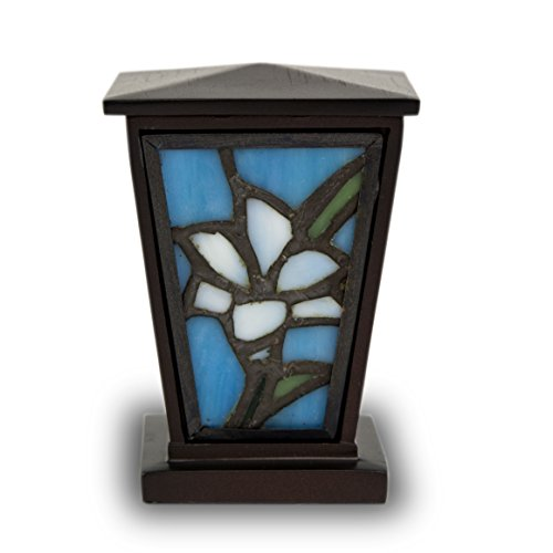 Lily Stained Glass Memorial Keepsake for Sharing - Extra Small - Holds Up to 3 Cubic Inches of Ashes - White Cremation Urn for Keepsake Ashes - Engraving Sold Separately