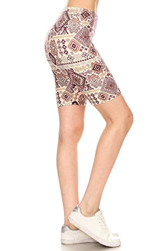 Leggings Depot LBKX-S748-3X Raisin Aztec Printed Biker Shorts, 3X Plus