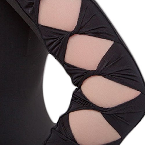 Embiofuels(TM Lycra Cotton Backless Unitard Adult Girl Black 3/4 Long Sleeve Dance Practice Leotard Gymnastic Ballet Leotards For Women by Embiofuels (Image #2)