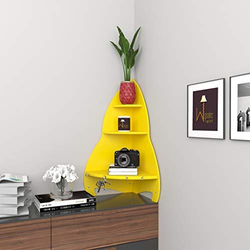 Wooden Twist Unicus Rocket Shaped Large Corner Wall Shelf  Yellow
