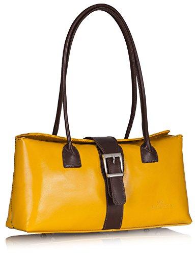 Italian MEGAN Satchel Handbag Leather Yellow Handle Genuine LIATALIA Shoulder Brown Trim Buckle Top Bz5azYqw
