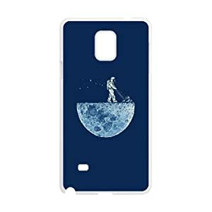 Astronaut Mowing the Moon Samsung Galaxy Note 4 Cell Phone Case White phone component AU_593010