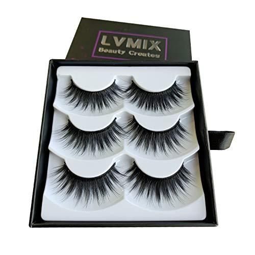 LVMIX 3D False Eyelashes Faux Mink Eyelashes Pack Full Fluffy Fake Lashes Handmade 3 Pairs