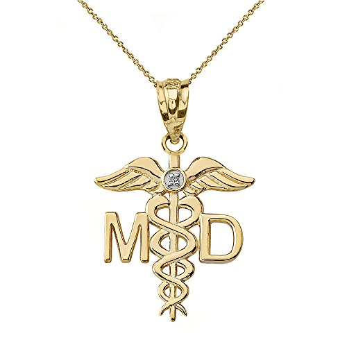 10k Yellow Gold Solitaire Diamond Caduceus MD Charm Medical Doctor Necklace, 16