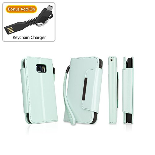 Galaxy S6 Case, BoxWave [Patent Leather Clutch Case with Bonus Keychain Charger] Vegan Leather Wristlet/Wallet Cover for Samsung Galaxy S6 - Mint