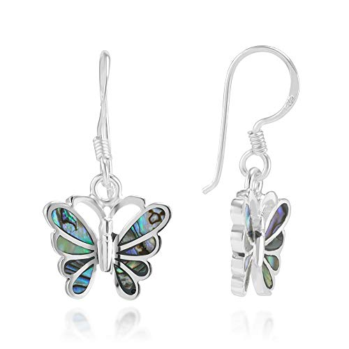 - 925 Sterling Silver Natural Green Abalone Shell Butterfly Dangle Hook Earrings