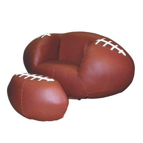 ORE International Football Vinyl Swivel Chair and Ottoman ()