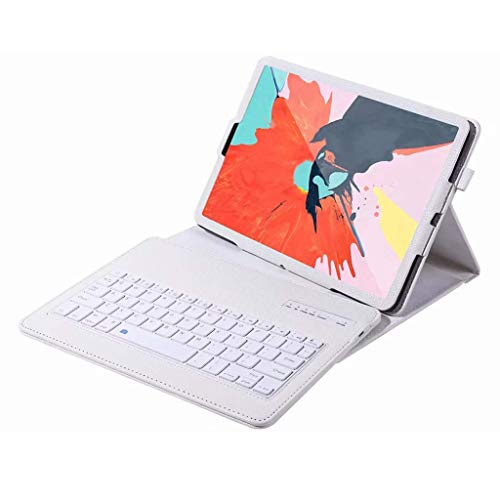for iPad Keyboard + Leather Case, Portable PU Leather Folio Keyboard Case with Removable Wireless/BT Keyboard Compatible with iPad Mini 1/2/3/4,iPad 9.7 2018 (for iPad Pro 10.5, White)