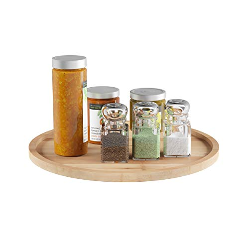 Lavish Home 83-97 Classic Cuisine Lazy Susan - All-Natural Bamboo Round Single Tier Turntable Kitchen Pantry and Vanity Organizer and Display with 14 Inch Diameter,