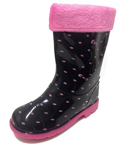 Toddler & Little Girls Youth Black Polka Dot Rain Snow Boots w/ Great Lining, Comfortable (13)