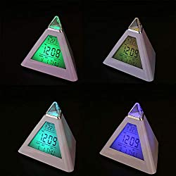 OYJJ LED Alarm Clock Pyramid 7 Color Changing Digital Desk Clock Perpetual Calendar Thermometer Triangle Clock for Home Decoration or Gift
