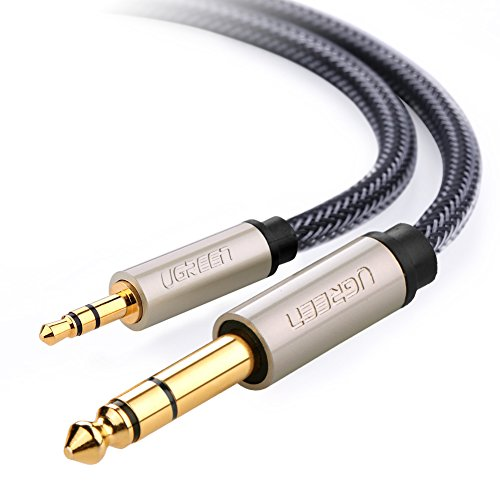 "Price comparison product image UGREEN 6.35mm 1/4"" Male to 3.5mm 1/8"" Male TRS Stereo Audio Cable with Zinc Alloy Housing and Nylon Braid for iPod, Laptop,Home Theater Devices, and Amplifiers(6ft)"